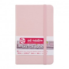 Sketch- og notesbog, 9x14cm, Pastel Pink