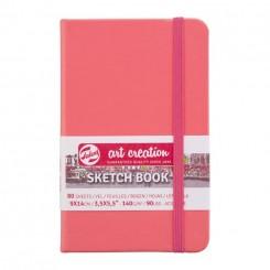 Sketch- og notesbog, 9x14cm, Coral Red