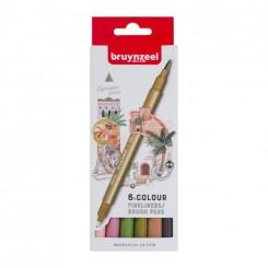 Bruynzeel Fineliner Brush pen sæt, 6 farver, Marrakesh