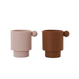 OYOY Tiny Inka Kop - 2 stk - Karamel / Rosa