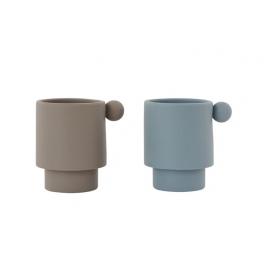OYOY Tiny Inka Kop - 2 stk - Dusty Blue / Clay
