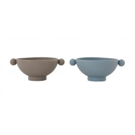 OYOY Tiny Inka Skål - 2 stk - Dusty Blue / Clay