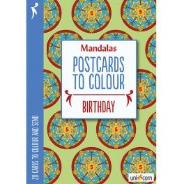 Mandalas postkort til at farvelægge BIRTHDAY