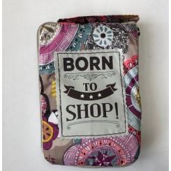 Indkøbsnet med tekst - Born to shop