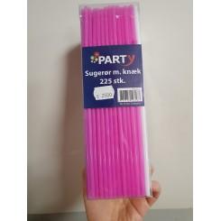 Sugerør med knæk, 225stk. sort/hvid/pink/lilla