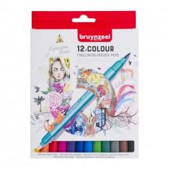 Bruynzeel Fineliner Brush pen sæt, 12 farver