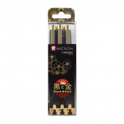 Sakura Micron, Black & Gold edition, 3 stk.