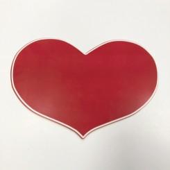 Hjerte, rød m. hvid kant, 49x35,5 cm