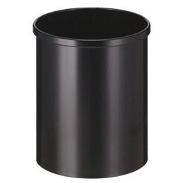 Papirkurv rund metal, sort Sikkerhedsgodkendt