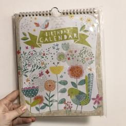 Artebene Fødselsdagskalender, blomster og fugl