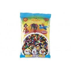 Hama MIDI perler, 3000 stk., farve mix, 22 farver