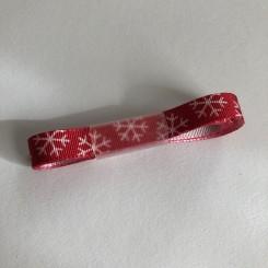 Satinbånd, rød med snefnug, 10mm