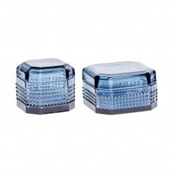 Hübsch opbevaringsglas med låg, blå, stor