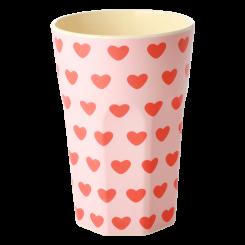Rice Stor Melamin Kop - Mild Pink - Sweet Hearts Print
