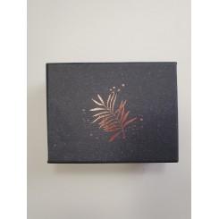 Artebene æske, mørkeblå med kobber blad