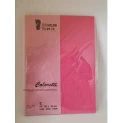 Rössler Coloretti kuverter, 5 stk., C6, pink