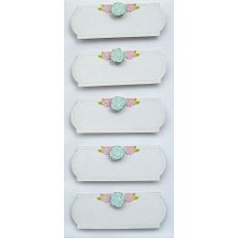 Rössler klistermærker, Hvide banner med blomster