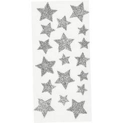 Rössler klistermærker, Glimmer stjerner, sølv