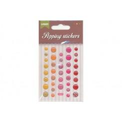 Popping stickers runde, røde nuancer