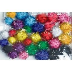 Pompon, 33 stk., Mix glitter