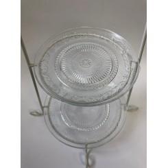 Etage opsats, hvid jern stativ m/ 2 glas tallerkner, mønster