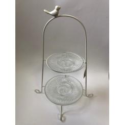 Etage opsats, hvid jern stativ m/ 2 glas tallerkner, striber