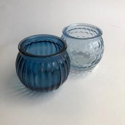 Fyrfadsglas i blå, 2 ass., små