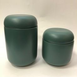 Hübsch krukke med låg, grøn, lille