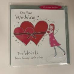 Englekort med vedhæng, Wedding Two hearts