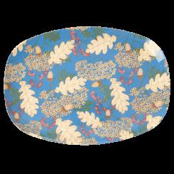Rice rektangulær melamin tallerken, Petroleum, Autumn and acorns print