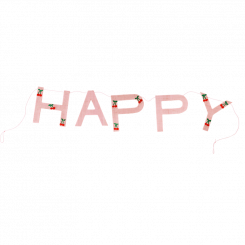 Rice Guirlande, Mild Pink, Cherry Print, Happy
