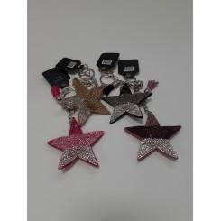 Nøglering / taskepynt glimmer, Stjerne