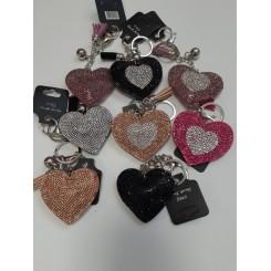 Nøglering / taskepynt glimmer, Hjerte