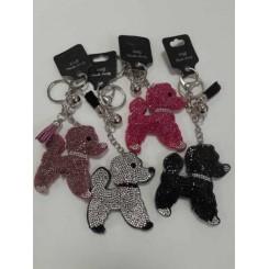 Nøglering / taskepynt glimmer, Hund