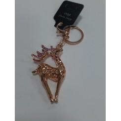 Nøglering / taskepynt glimmer, Metal, Hjort