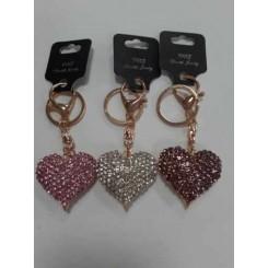 Nøglering / taskepynt glimmer, Metal, Hjerte