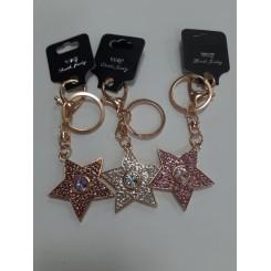 Nøglering / taskepynt glimmer, Metal, Stjerne