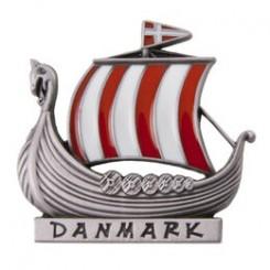 """Magnet vikingeskib, """"sølv"""" H4,5 cm"""