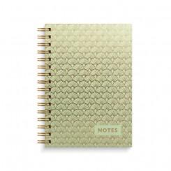Notesbog, A5, mosgrøn og guld mønster