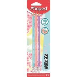 Maped Black Peps Blyant, pastel, 3 stk.