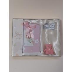 Billedramme, lyserød, m brevholder