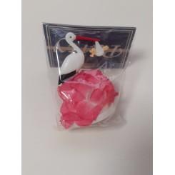 Kagefigur, stork, lyserød, 7 cm