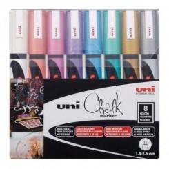 Uni Chalk markers, PWE-5K, metallic, 8 stk.