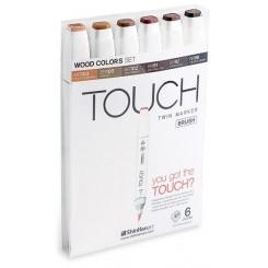 Touch BRUSH marker sæt med 6 stk., WOOD COLOURS