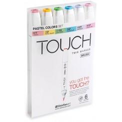 Touch BRUSH marker sæt med 6 stk., PASTEL COLOURS