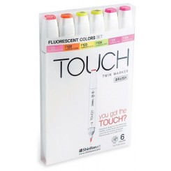 Touch BRUSH marker sæt med 6 stk., FLUORESCENT COLOURS