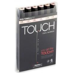Touch TWIN marker sæt med 6 stk., SKIN TONES