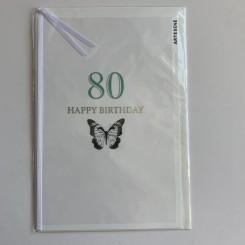 Artebene kort -Happy birthday, 80 grøn
