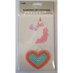 Diamond Art Stickers, Enhjørning og hjerte