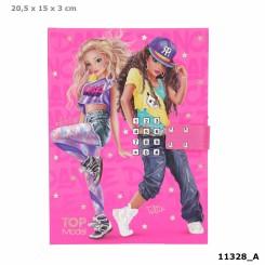 TOPModel Dagbog m/kode og musik, pink